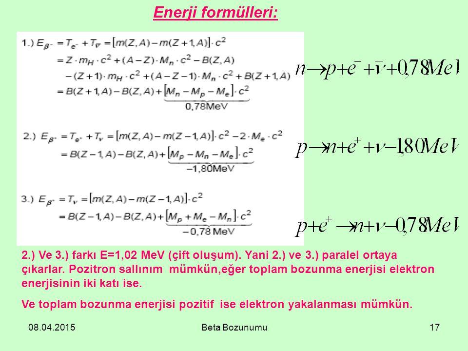 08.04.2015Beta Bozunumu17 Enerji formülleri: 2.) Ve 3.) farkı E=1,02 MeV (çift oluşum). Yani 2.) ve 3.) paralel ortaya çıkarlar. Pozitron sallınım müm