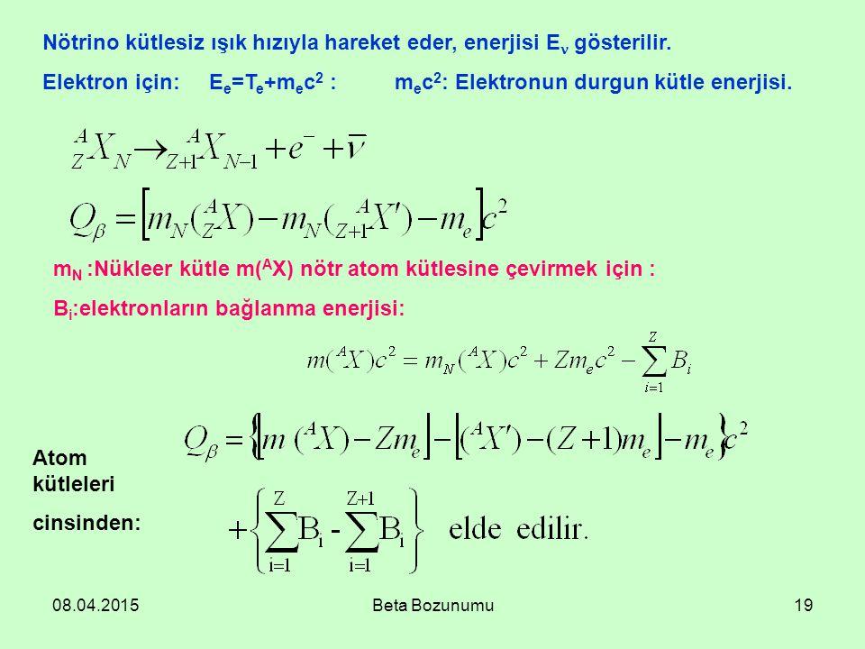 08.04.2015Beta Bozunumu19 Nötrino kütlesiz ışık hızıyla hareket eder, enerjisi E gösterilir. Elektron için: E e =T e +m e c 2 : m e c 2 : Elektronun d