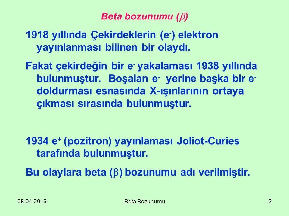 08.04.2015Beta Bozunumu2 Beta bozunumu (  ) 1918 yıllında Çekirdeklerin (e - ) elektron yayınlanması bilinen bir olaydı. Fakat çekirdeğin bir e - yak