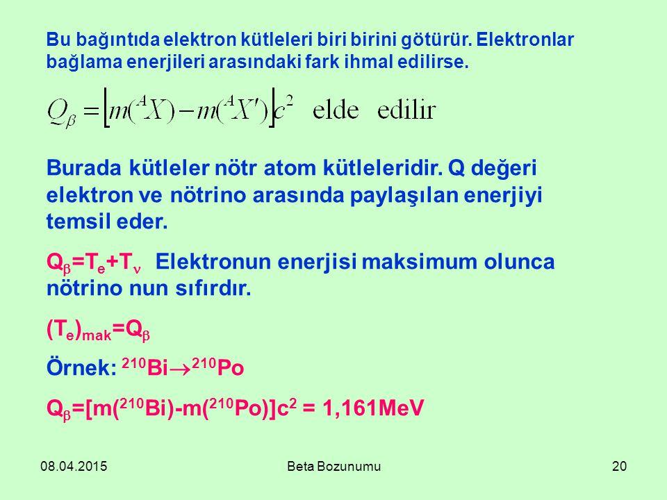 08.04.2015Beta Bozunumu20 Bu bağıntıda elektron kütleleri biri birini götürür. Elektronlar bağlama enerjileri arasındaki fark ihmal edilirse. Burada k