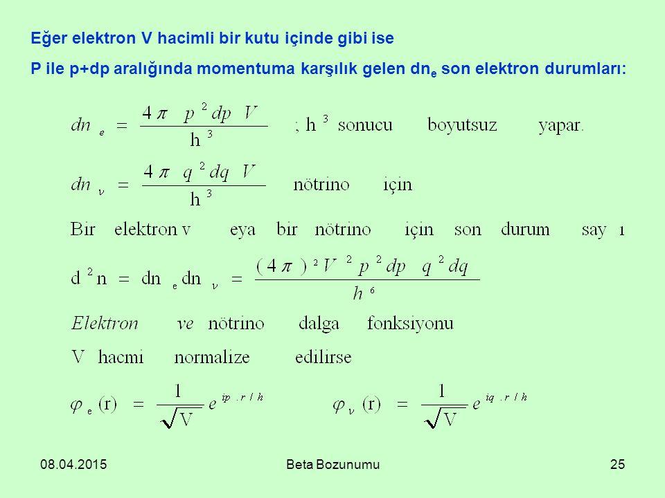 08.04.2015Beta Bozunumu25 Eğer elektron V hacimli bir kutu içinde gibi ise P ile p+dp aralığında momentuma karşılık gelen dn e son elektron durumları:
