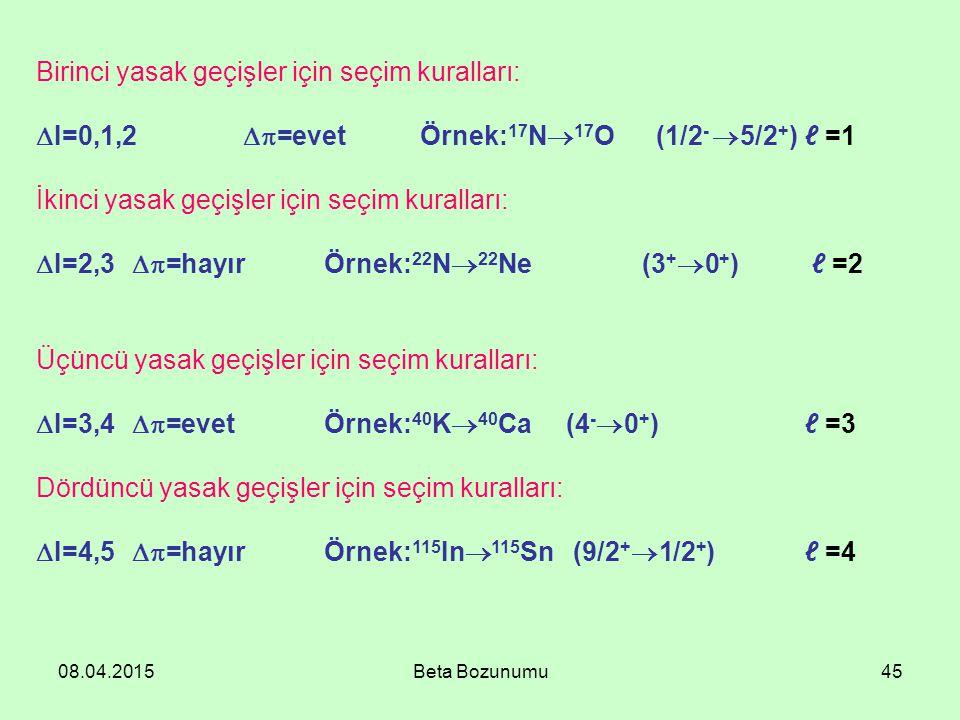 08.04.2015Beta Bozunumu45 Birinci yasak geçişler için seçim kuralları:  I=0,1,2  =evet Örnek: 17 N  17 O (1/2 -  5/2 + ) ℓ =1 İkinci yasak geçişler için seçim kuralları:  I=2,3  =hayır Örnek: 22 N  22 Ne (3 +  0 + ) ℓ =2 Üçüncü yasak geçişler için seçim kuralları:  I=3,4  =evet Örnek: 40 K  40 Ca (4 -  0 + ) ℓ =3 Dördüncü yasak geçişler için seçim kuralları:  I=4,5  =hayırÖrnek: 115 In  115 Sn (9/2 +  1/2 + ) ℓ =4