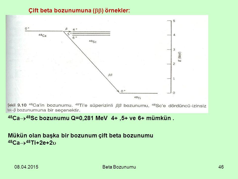 08.04.2015Beta Bozunumu46 48 Ca  48 Sc bozunumu Q=0,281 MeV 4+,5+ ve 6+ mümkün. Mükün olan başka bir bozunum çift beta bozunumu 48 Ca  48 Ti+2e+2 