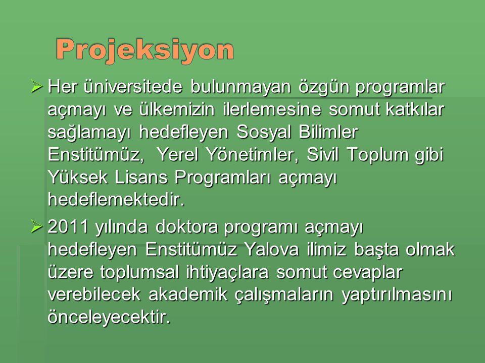  Her üniversitede bulunmayan özgün programlar açmayı ve ülkemizin ilerlemesine somut katkılar sağlamayı hedefleyen Sosyal Bilimler Enstitümüz, Yerel