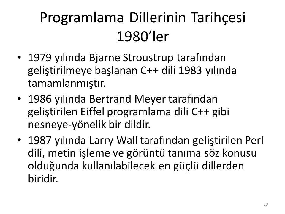 Programlama Dillerinin Tarihçesi 1980'ler 1979 yılında Bjarne Stroustrup tarafından geliştirilmeye başlanan C++ dili 1983 yılında tamamlanmıştır.