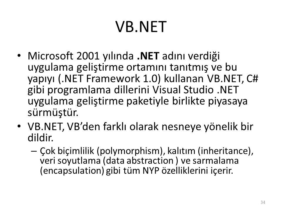 VB.NET Microsoft 2001 yılında.NET adını verdiği uygulama geliştirme ortamını tanıtmış ve bu yapıyı (.NET Framework 1.0) kullanan VB.NET, C# gibi programlama dillerini Visual Studio.NET uygulama geliştirme paketiyle birlikte piyasaya sürmüştür.