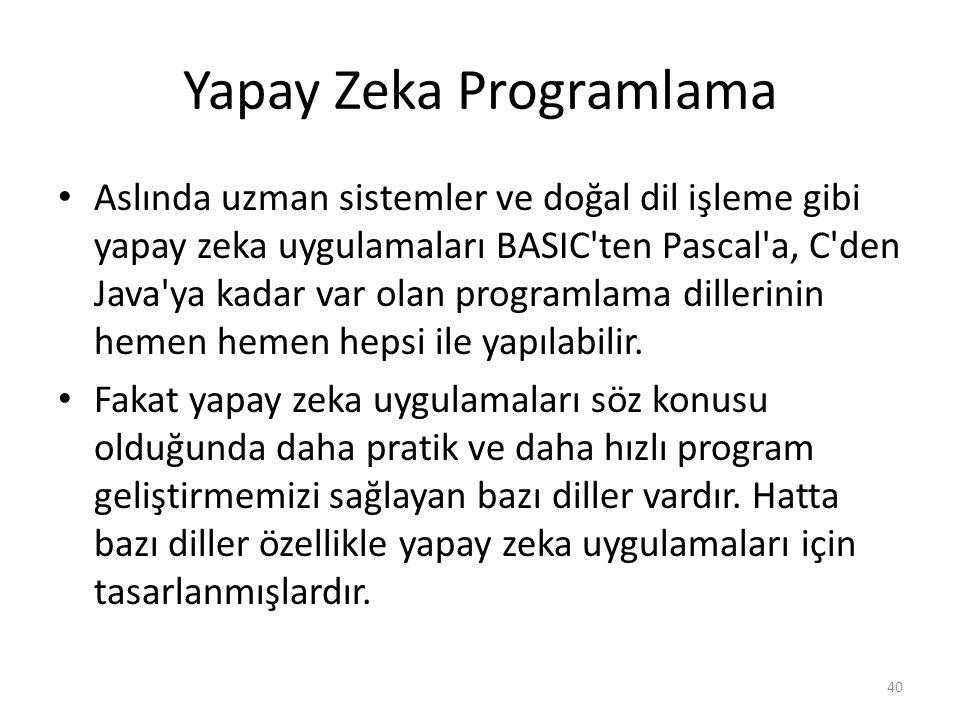 Yapay Zeka Programlama Aslında uzman sistemler ve doğal dil işleme gibi yapay zeka uygulamaları BASIC ten Pascal a, C den Java ya kadar var olan programlama dillerinin hemen hemen hepsi ile yapılabilir.