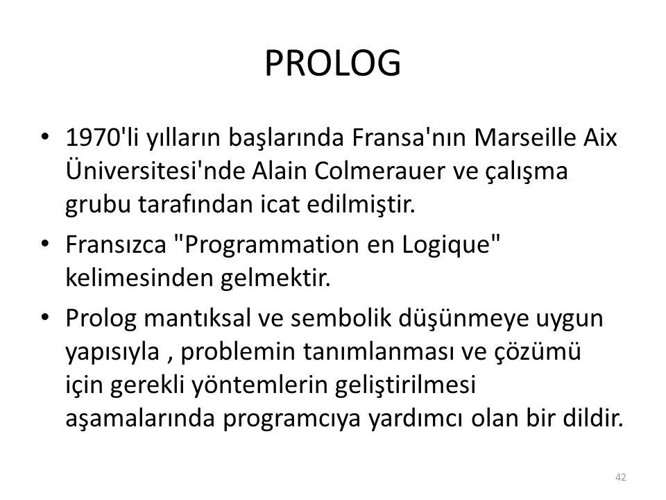 PROLOG 1970 li yılların başlarında Fransa nın Marseille Aix Üniversitesi nde Alain Colmerauer ve çalışma grubu tarafından icat edilmiştir.