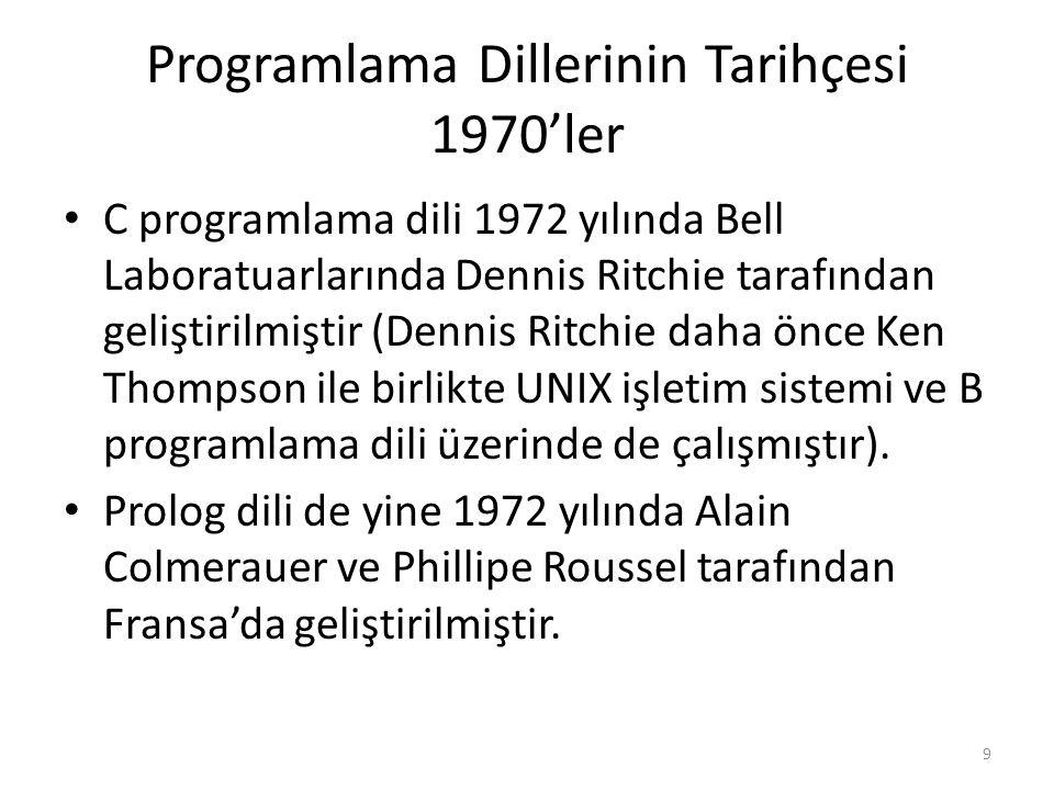 Programlama Dillerinin Tarihçesi 1970'ler C programlama dili 1972 yılında Bell Laboratuarlarında Dennis Ritchie tarafından geliştirilmiştir (Dennis Ritchie daha önce Ken Thompson ile birlikte UNIX işletim sistemi ve B programlama dili üzerinde de çalışmıştır).