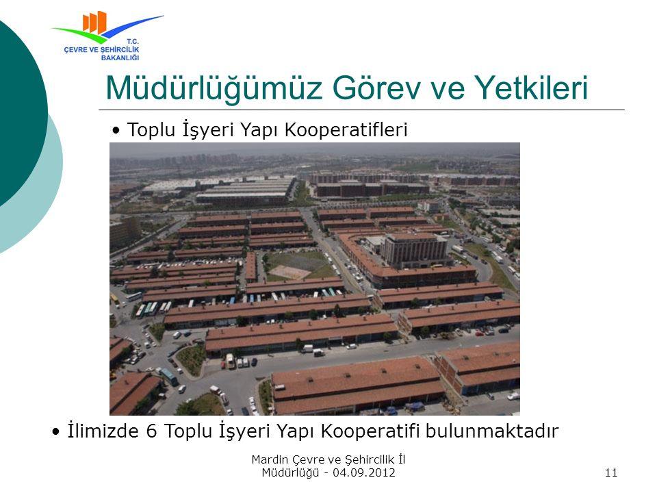 Mardin Çevre ve Şehircilik İl Müdürlüğü - 04.09.201211 Müdürlüğümüz Görev ve Yetkileri Toplu İşyeri Yapı Kooperatifleri İlimizde 6 Toplu İşyeri Yapı Kooperatifi bulunmaktadır
