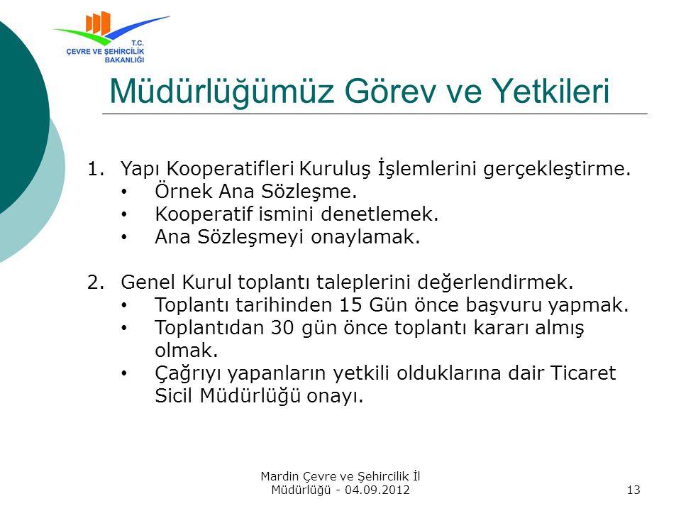 Mardin Çevre ve Şehircilik İl Müdürlüğü - 04.09.201213 Müdürlüğümüz Görev ve Yetkileri 1.Yapı Kooperatifleri Kuruluş İşlemlerini gerçekleştirme.
