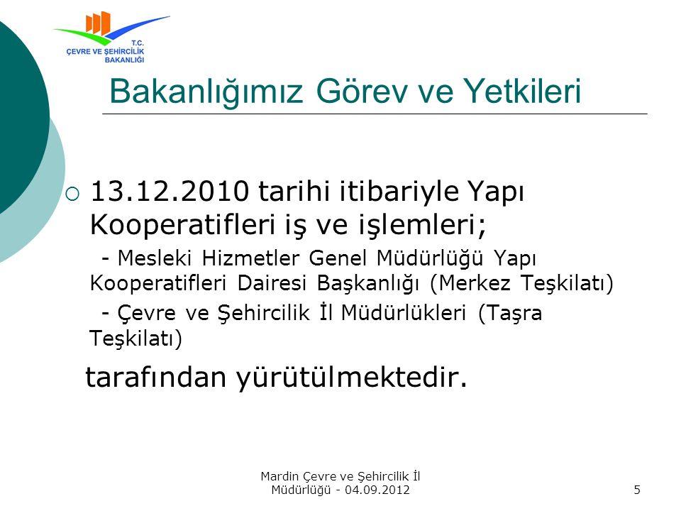 Yapı Kooperatifleri Otomasyonu ve Denetleme Projesi Mardin Çevre ve Şehircilik İl Müdürlüğü - 04.09.201216