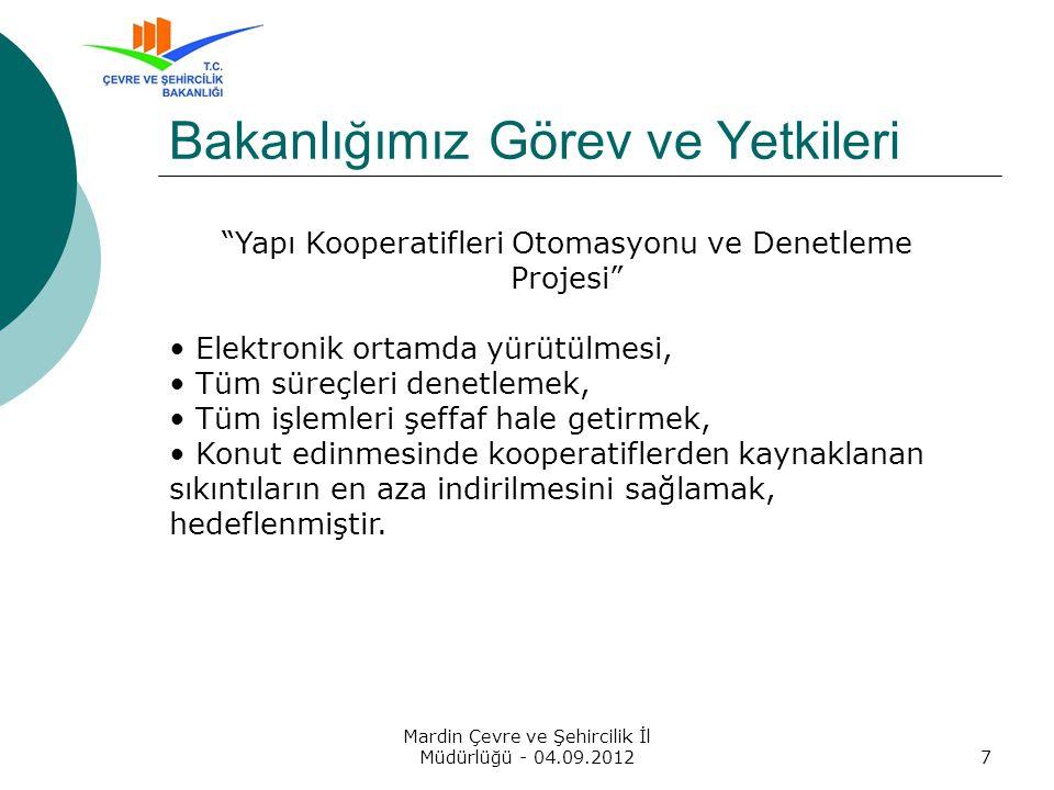 Mardin Çevre ve Şehircilik İl Müdürlüğü - 04.09.20128 Müdürlüğümüz Görev ve Yetkileri 1163 sayılı Kooperatifler Kanunu, Türk Ticaret Kanununun Anonim Şirketlere ait hükümleri, Ana sözleşme hükümleri,