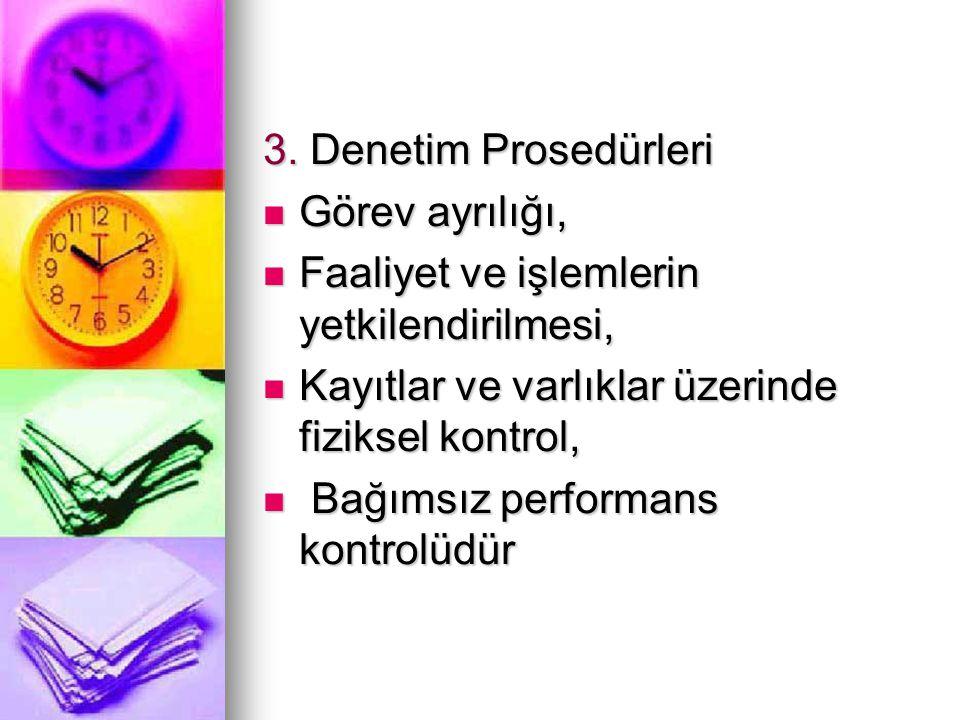 3. Denetim Prosedürleri Görev ayrılığı, Görev ayrılığı, Faaliyet ve işlemlerin yetkilendirilmesi, Faaliyet ve işlemlerin yetkilendirilmesi, Kayıtlar v