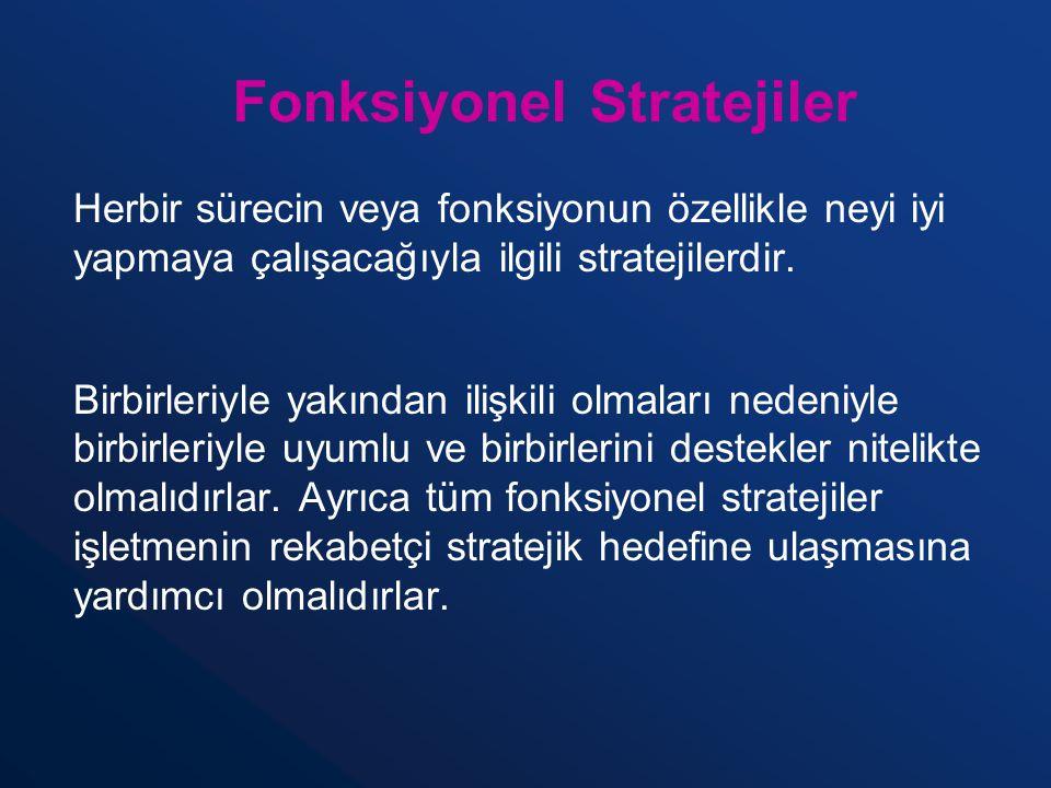 Fonksiyonel Stratejiler Herbir sürecin veya fonksiyonun özellikle neyi iyi yapmaya çalışacağıyla ilgili stratejilerdir. Birbirleriyle yakından ilişkil