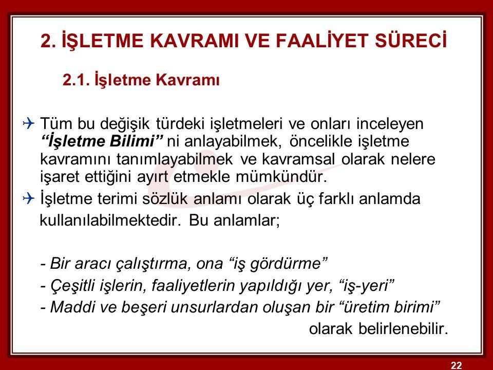 22 2.İŞLETME KAVRAMI VE FAALİYET SÜRECİ 2.1.