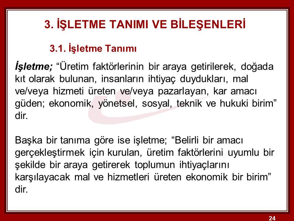 24 3.İŞLETME TANIMI VE BİLEŞENLERİ 3.1.