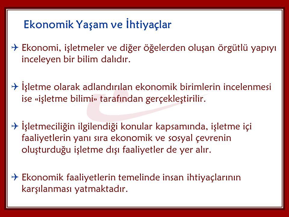 Ekonomik Yaşam ve İhtiyaçlar  Ekonomi, işletmeler ve diğer öğelerden oluşan örgütlü yapıyı inceleyen bir bilim dalıdır.  İşletme olarak adlandırılan