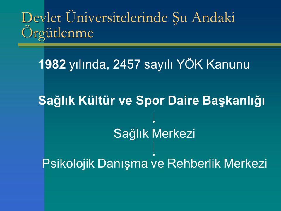 Devlet Üniversitelerinde Şu Andaki Örgütlenme 1982 yılında, 2457 sayılı YÖK Kanunu Sağlık Kültür ve Spor Daire Başkanlığı Sağlık Merkezi Psikolojik Danışma ve Rehberlik Merkezi