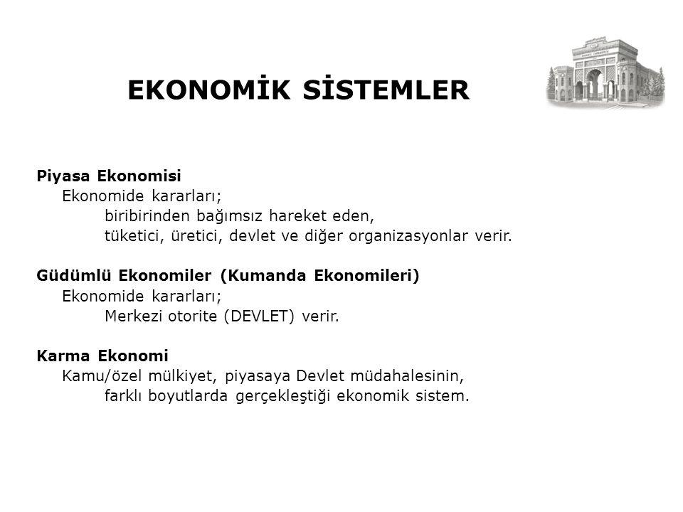 EKONOMİK SİSTEMLER Piyasa Ekonomisi Ekonomide kararları; biribirinden bağımsız hareket eden, tüketici, üretici, devlet ve diğer organizasyonlar verir.