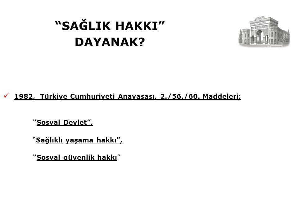 SAĞLIK HAKKI DAYANAK. 1982, Türkiye Cumhuriyeti Anayasası, 2./56./60.