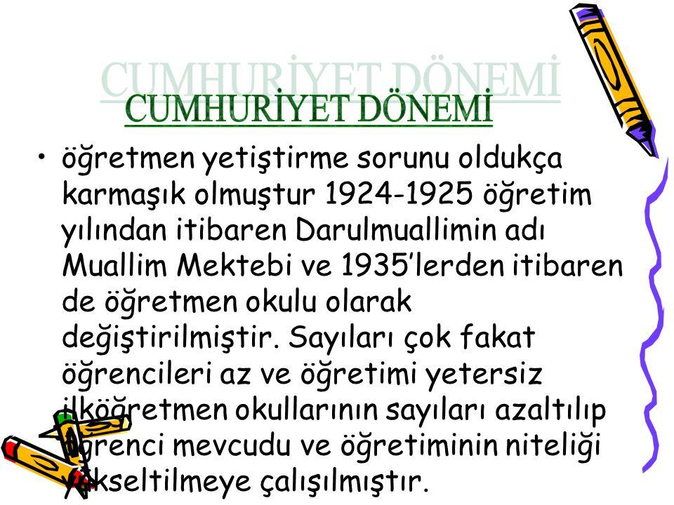 öğretmen yetiştirme sorunu oldukça karmaşık olmuştur 1924-1925 öğretim yılından itibaren Darulmuallimin adı Muallim Mektebi ve 1935'lerden itibaren de öğretmen okulu olarak değiştirilmiştir.