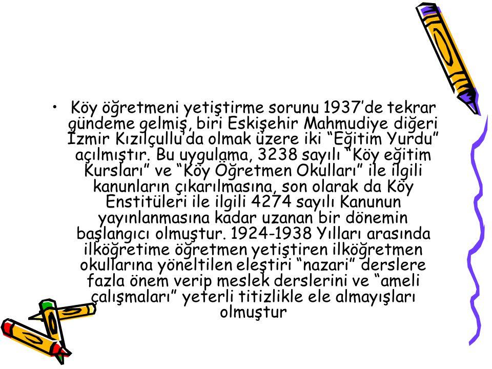 Köy öğretmeni yetiştirme sorunu 1937'de tekrar gündeme gelmiş, biri Eskişehir Mahmudiye diğeri İzmir Kızılçullu'da olmak üzere iki Eğitim Yurdu açılmıştır.