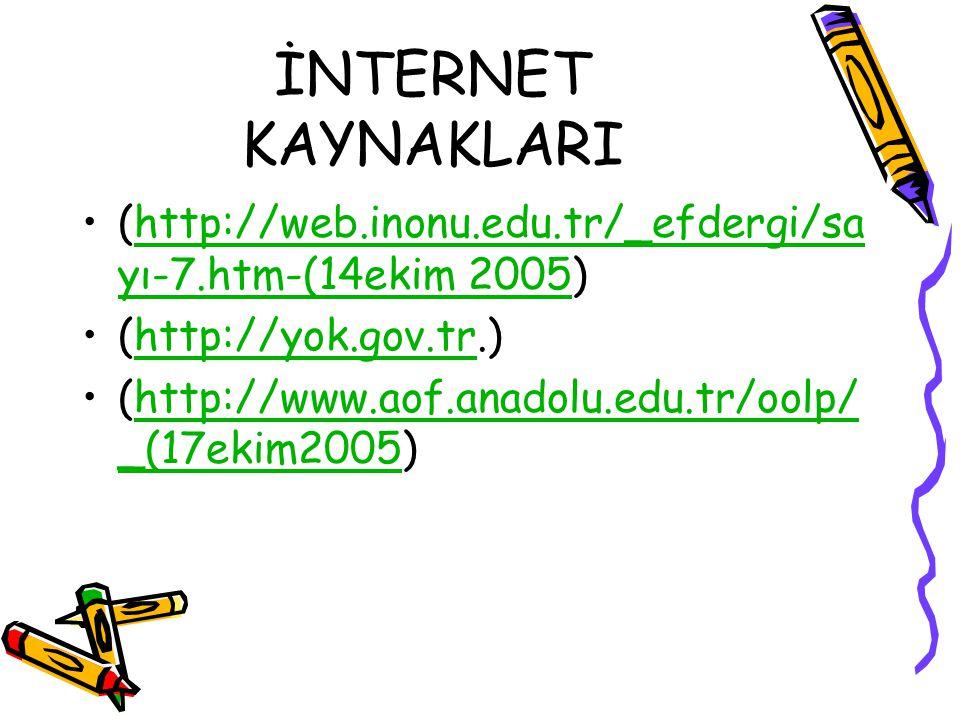 İNTERNET KAYNAKLARI (http://web.inonu.edu.tr/_efdergi/sa yı-7.htm-(14ekim 2005)http://web.inonu.edu.tr/_efdergi/sa yı-7.htm-(14ekim 2005 (http://yok.gov.tr.)http://yok.gov.tr (http://www.aof.anadolu.edu.tr/oolp/ _(17ekim2005)http://www.aof.anadolu.edu.tr/oolp/ _(17ekim2005