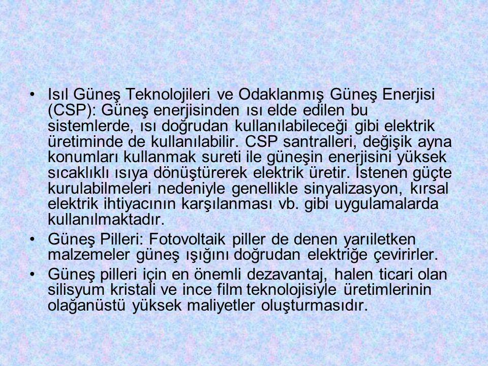 Isıl Güneş Teknolojileri ve Odaklanmış Güneş Enerjisi (CSP): Güneş enerjisinden ısı elde edilen bu sistemlerde, ısı doğrudan kullanılabileceği gibi el