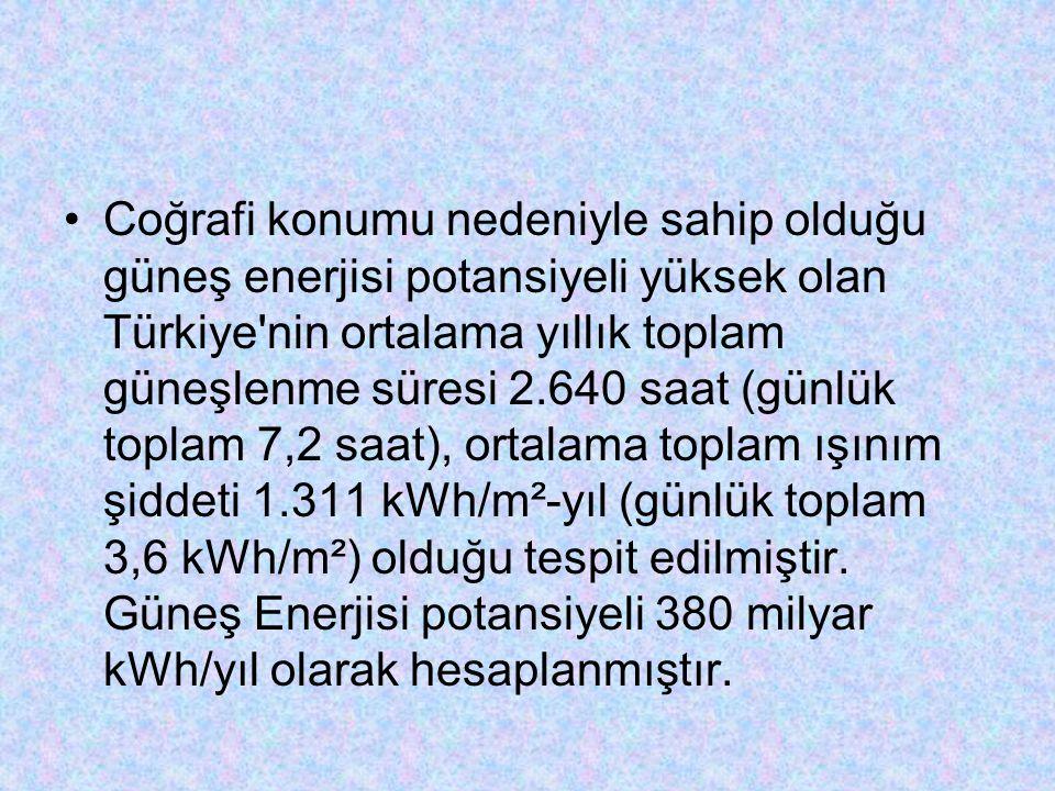 Coğrafi konumu nedeniyle sahip olduğu güneş enerjisi potansiyeli yüksek olan Türkiye'nin ortalama yıllık toplam güneşlenme süresi 2.640 saat (günlük t