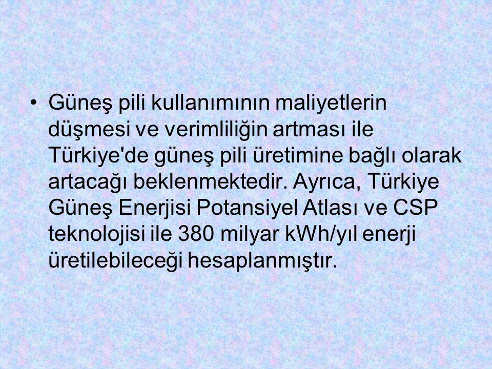 Güneş pili kullanımının maliyetlerin düşmesi ve verimliliğin artması ile Türkiye'de güneş pili üretimine bağlı olarak artacağı beklenmektedir. Ayrıca,