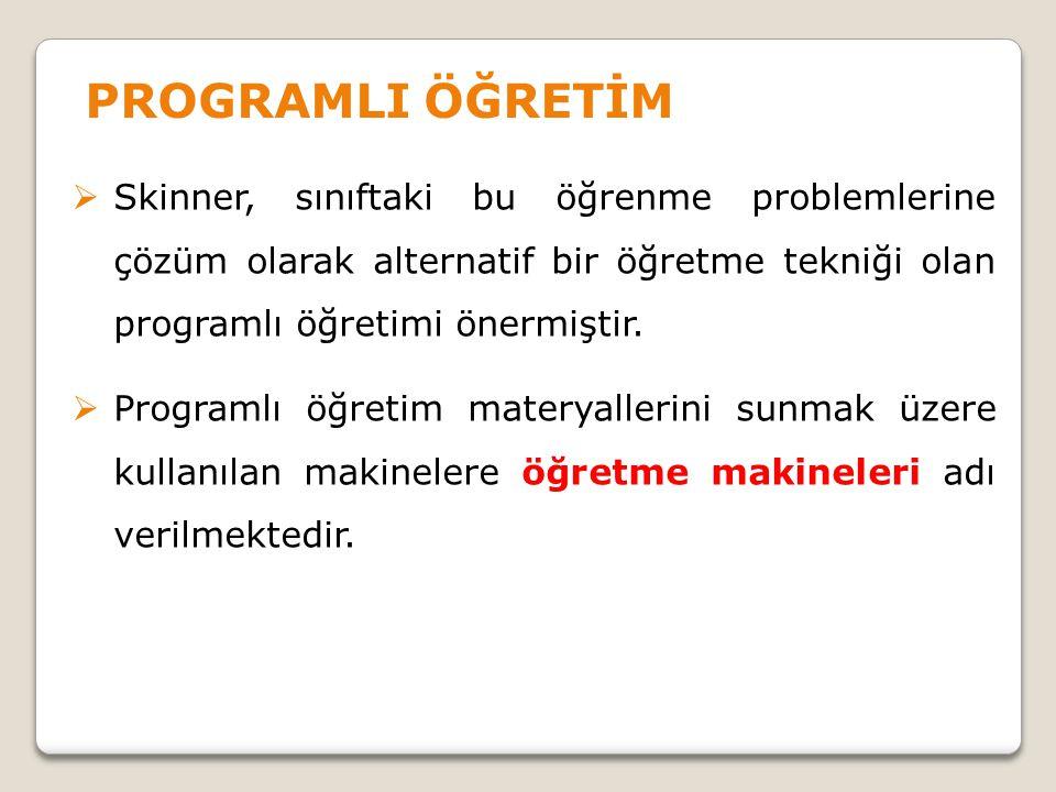  Skinner, sınıftaki bu öğrenme problemlerine çözüm olarak alternatif bir öğretme tekniği olan programlı öğretimi önermiştir.  Programlı öğretim mate