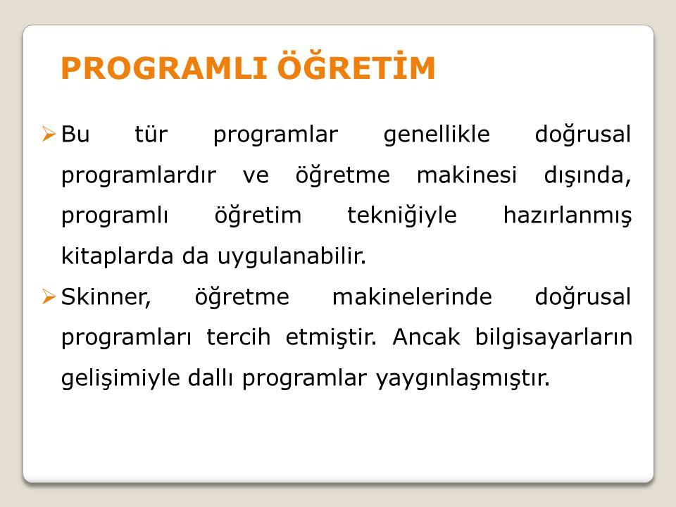  Bu tür programlar genellikle doğrusal programlardır ve öğretme makinesi dışında, programlı öğretim tekniğiyle hazırlanmış kitaplarda da uygulanabili