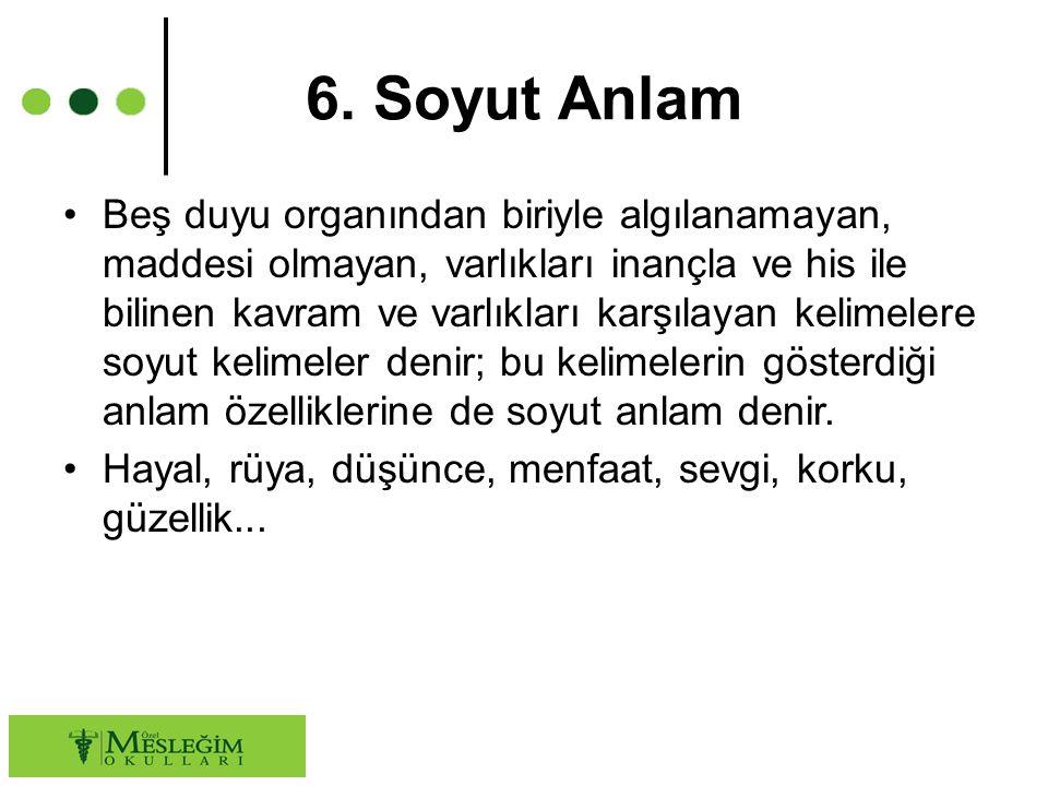 6. Soyut Anlam Beş duyu organından biriyle algılanamayan, maddesi olmayan, varlıkları inançla ve his ile bilinen kavram ve varlıkları karşılayan kelim