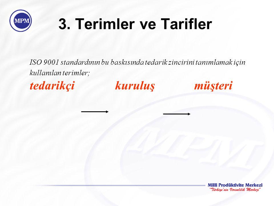 3. Terimler ve Tarifler ISO 9001 standardının bu baskısında tedarik zincirini tanımlamak için kullanılan terimler; tedarikçi kuruluşmüşteri