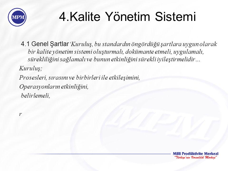 4.Kalite Yönetim Sistemi 4.1 Genel Şartlar 'Kuruluş, bu standardın öngördüğü şartlara uygun olarak bir kalite yönetim sistemi oluşturmalı, dokümante e