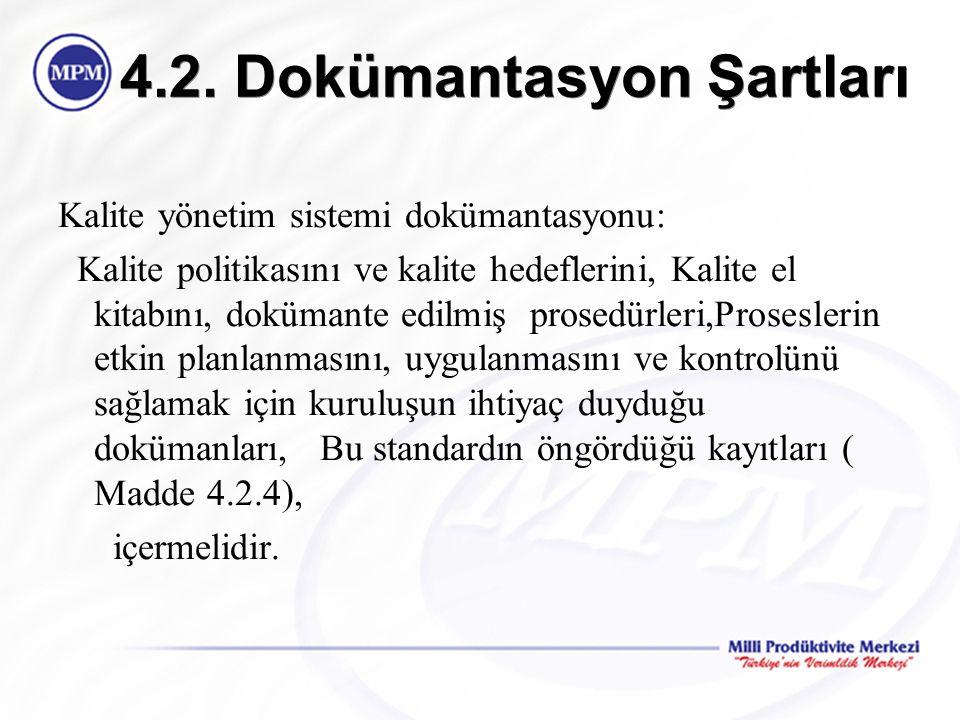 4.2. Dokümantasyon Şartları Kalite yönetim sistemi dokümantasyonu: Kalite politikasını ve kalite hedeflerini, Kalite el kitabını, dokümante edilmiş pr
