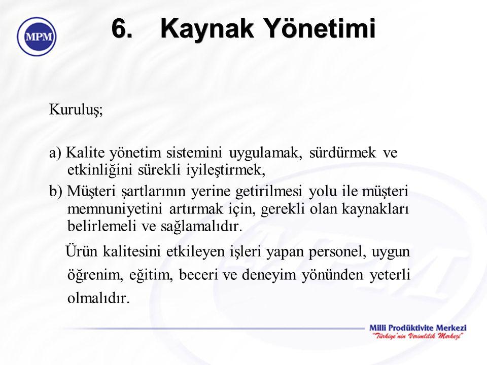 6.Kaynak Yönetimi Kuruluş; a) Kalite yönetim sistemini uygulamak, sürdürmek ve etkinliğini sürekli iyileştirmek, b) Müşteri şartlarının yerine getiril