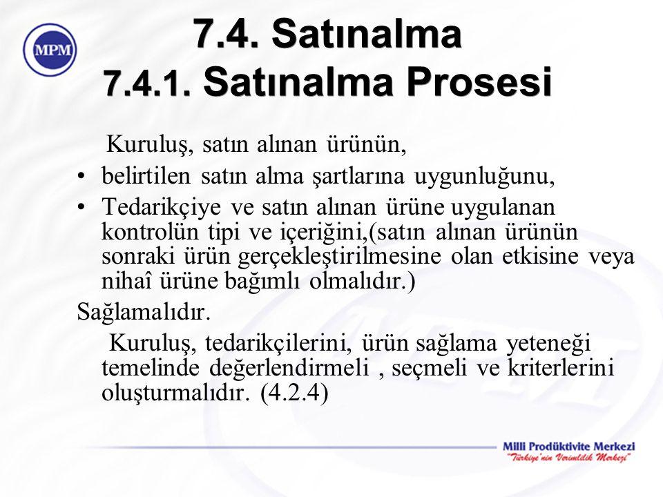 7.4. Satınalma 7.4.1. Satınalma Prosesi Kuruluş, satın alınan ürünün, belirtilen satın alma şartlarına uygunluğunu, Tedarikçiye ve satın alınan ürüne