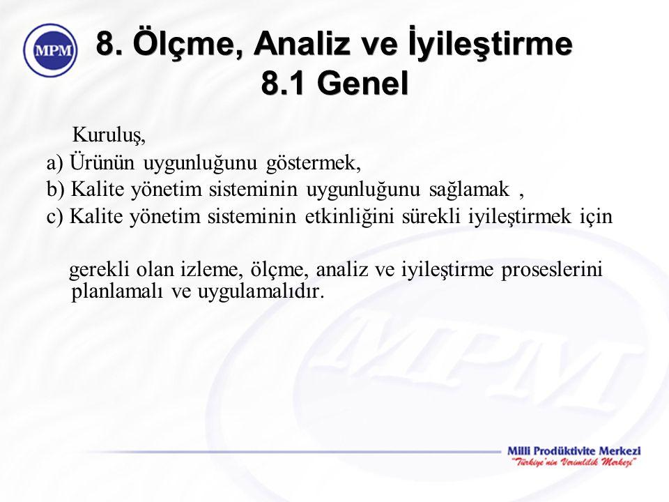 8. Ölçme, Analiz ve İyileştirme 8.1 Genel Kuruluş, a) Ürünün uygunluğunu göstermek, b) Kalite yönetim sisteminin uygunluğunu sağlamak, c) Kalite yönet