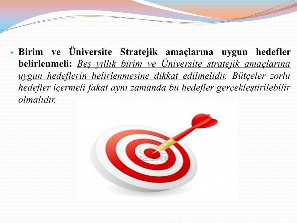 Birim ve Üniversite Stratejik amaçlarına uygun hedefler belirlenmeli: Beş yıllık birim ve Üniversite stratejik amaçlarına uygun hedeflerin belirlenmes