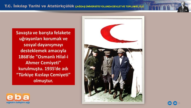 T.C. İnkılap Tarihi ve Atatürkçülük ÇAĞDAŞ ÜNİVERSİTE YOLUNDA DEVLET VE TOPLUM EL ELE 14 Savaşta ve barışta felakete uğrayanları korumak ve sosyal day