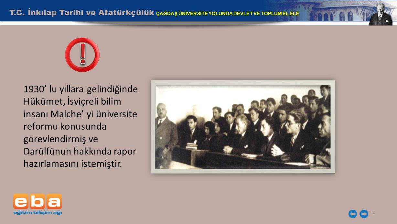 T.C. İnkılap Tarihi ve Atatürkçülük ÇAĞDAŞ ÜNİVERSİTE YOLUNDA DEVLET VE TOPLUM EL ELE 7 1930' lu yıllara gelindiğinde Hükümet, İsviçreli bilim insanı