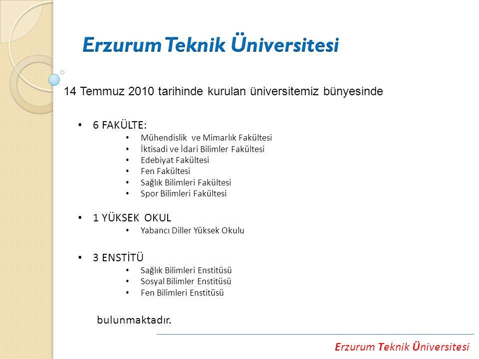 Erzurum Teknik Üniversitesi 14 Temmuz 2010 tarihinde kurulan üniversitemiz bünyesinde 6 FAKÜLTE: Mühendislik ve Mimarlık Fakültesi İktisadi ve İdari Bilimler Fakültesi Edebiyat Fakültesi Fen Fakültesi Sağlık Bilimleri Fakültesi Spor Bilimleri Fakültesi 1 YÜKSEK OKUL Yabancı Diller Yüksek Okulu 3 ENSTİTÜ Sağlık Bilimleri Enstitüsü Sosyal Bilimler Enstitüsü Fen Bilimleri Enstitüsü bulunmaktadır.
