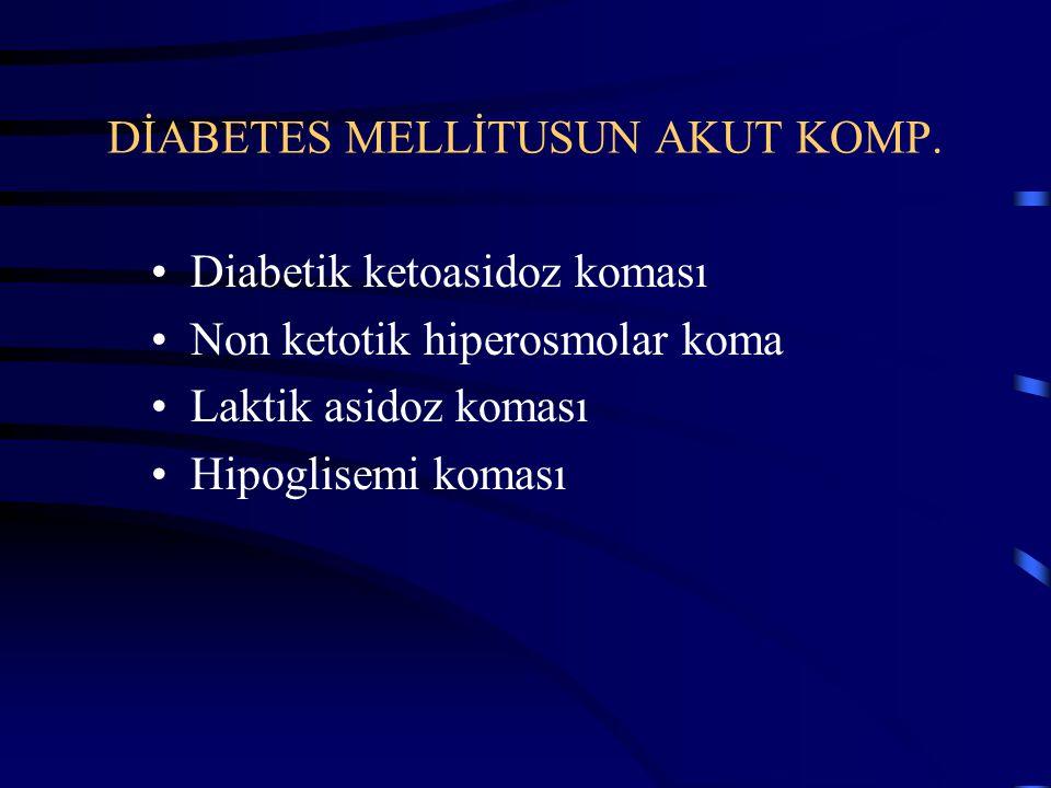 KETOASİDOZ KOMASI İNSÜLİN eksik veya etkisiz Glukagon artar Büyüme hormanı artar Kategolaminler artar Glukokortikoitler artar