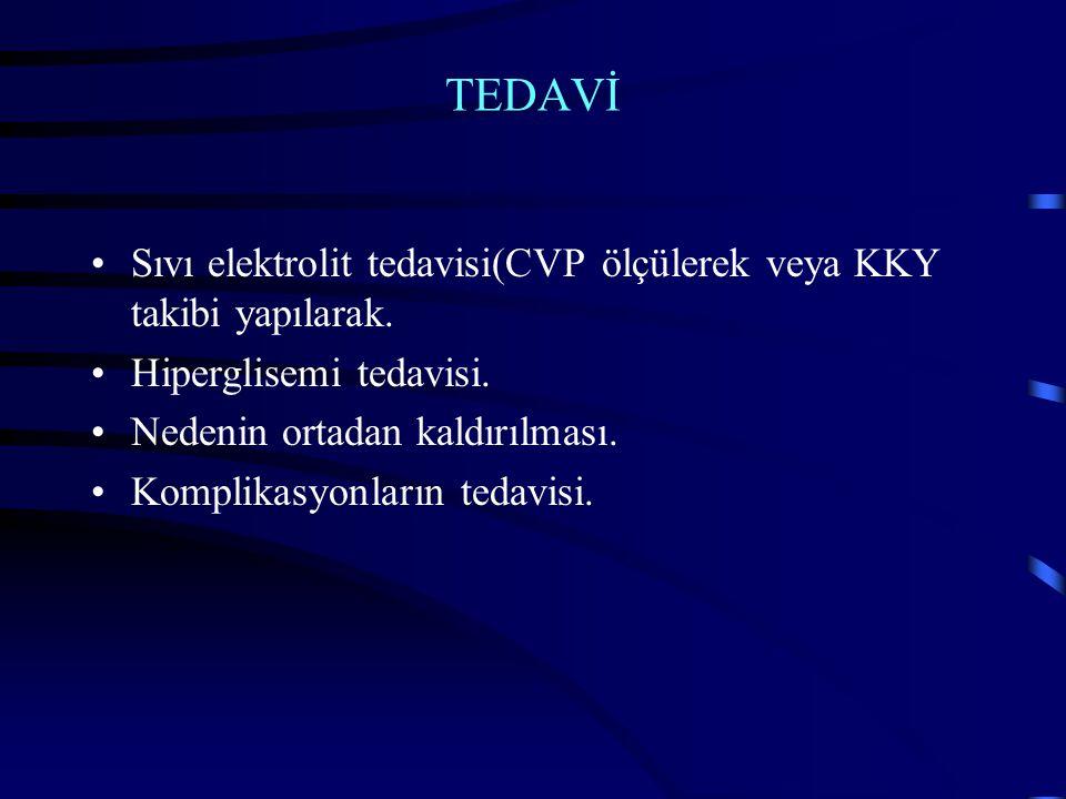 TEDAVİ Sıvı elektrolit tedavisi(CVP ölçülerek veya KKY takibi yapılarak.