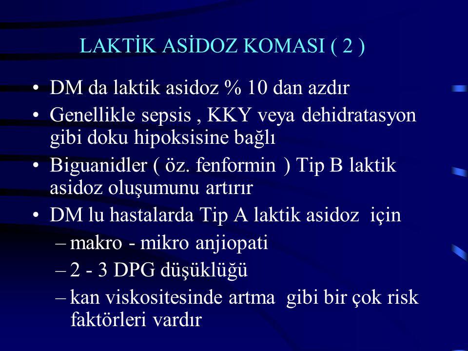 LAKTİK ASİDOZ KOMASI ( 2 ) DM da laktik asidoz % 10 dan azdır Genellikle sepsis, KKY veya dehidratasyon gibi doku hipoksisine bağlı Biguanidler ( öz.