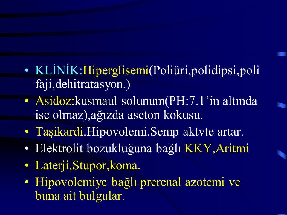 KLİNİK:Hiperglisemi(Poliüri,polidipsi,poli faji,dehitratasyon.) Asidoz:kusmaul solunum(PH:7.1'in altında ise olmaz),ağızda aseton kokusu.
