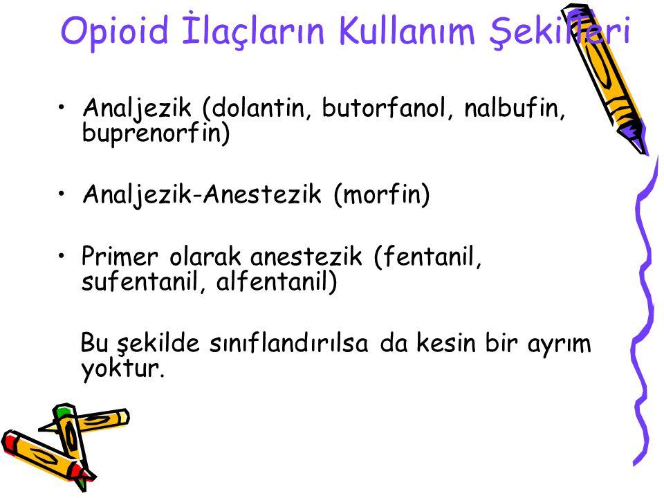 Opioid İlaçların Kullanım Şekilleri Analjezik (dolantin, butorfanol, nalbufin, buprenorfin) Analjezik-Anestezik (morfin) Primer olarak anestezik (fent