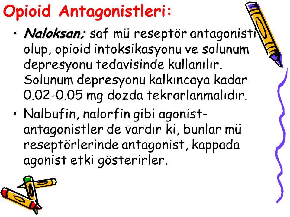 Opioid Antagonistleri: Naloksan;Naloksan; saf mü reseptör antagonisti olup, opioid intoksikasyonu ve solunum depresyonu tedavisinde kullanılır. Solunu